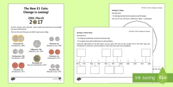 KS1 the New £1 Coin Maths Activity Sheets - money, coins, new one pound coin, order, compare, place value, sort, KS1, maths, worksheets, number