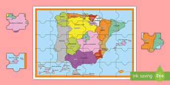 Puzle: Las comunidades autónomas  - Mapas, provinicias, mapas mudos, mapas en blanco, las ciudades de españa, comarcas, concejos, comun