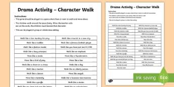 Character Walk Drama Activity Game - ROI Drama, warm up, game, drama activity, walk like, character, characterisation, movement, ,Irish