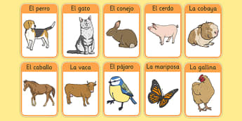 Los animales de la granja Farm Animals in Spanish Flashcards - spanish, Farm, animals, granja, animales, flashcards