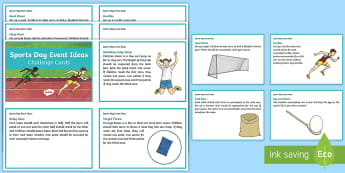 Sports Day Event Ideas Challenge Cards - Sport's Day, potted sports, gym ideas, PE. P.E, cfe, health and well being, cfe events,Scottish