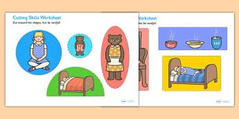 Goldilocks and the Three Bears Themed Cutting Skills Worksheet