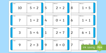 Addition to 10 Loop Cards - KS1, Maths, numeracy, number, addition, add, more, plus, count on, number sentence, number to 10, nu