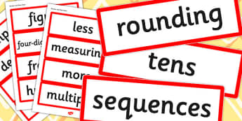Year 4 2014 Curriculum Maths Vocabulary Cards Number Place Value