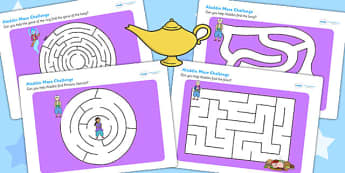 Aladdin Differentiated Maze Activity Sheet Pack - aladdin, stories , worksheet