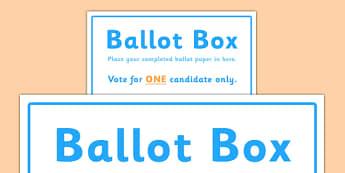 School Council Election Ballot Box Sign - school council, election, ballot, box, sign