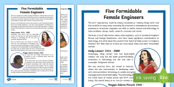 Five Female Engineers KS2 Differentiated Fact File - space, astronaut, women, science, STEM, physics, chemistry, Kevlar, NASA, computer, microsoft, wifi