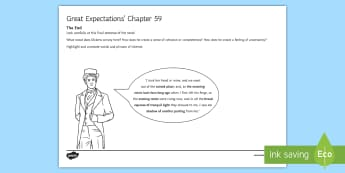 Great Expectations Chapter 59 - The End Activity Sheet - Charles Dickens, Pip, Estella, Textual analysis, no shadow of another parting, worksheet