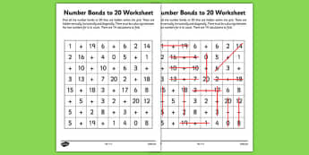 Number Bonds to 20 Wordsearch - number bonds, numeracy, maths