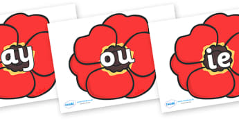 Phase 5 Phonemes on Poppies - Phonemes, phoneme, Phase 5, Phase five, Foundation, Literacy, Letters and Sounds, DfES, display