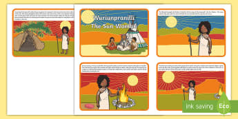 Wuriunpranilli The Sun Woman Story Cards - indigenous, dreamtime, earth and space science, day and night, just so stories, folk tales, australi