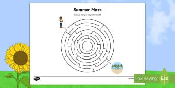 Summer Maze Activity Sheet - NI Summer, maze, beach, path, route, worksheet, pencil control