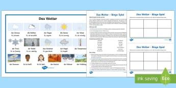Weather Bingo German - Weather, Wetter, Bingo, Spiel, German, Deutsch