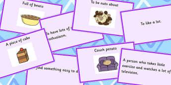 Food Idioms Matching Cards - food, idioms, matching, cards, sen