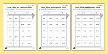 Phase 5 Colour by Phoneme Real and Nonsense Words Activity Sheet Pack - phase 5, colour, phoneme, real, nonsense, words, activity, worksheet