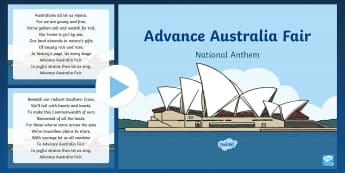 Advance Australia Fair National Anthem PowerPoint - Australian Requests,Australia, national anthem, patriotic,