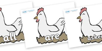 Tricky Words on Hens - Tricky words, DfES Letters and Sounds, Letters and sounds, display, words