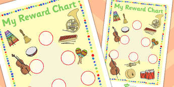 Music Themed Sticker Reward Chart 30mm - reward chart, sticker chart, sticker reward chart, music reward chart, music sticker chart, 30mm sticker chart