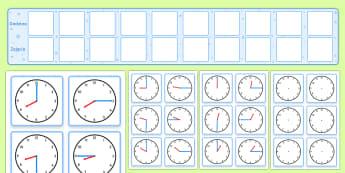 Plan zajęć z kartami z zegarami - czas, gazetka, ścienna, czasu, mierzenie, godziny, godzina, zajęcia, matematyka, zegar, zegary, an