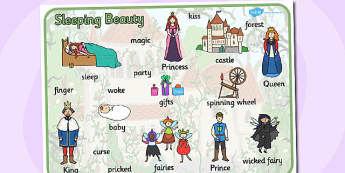 Sleeping Beauty Word Mat - sleeping beauty, keywords, word mat