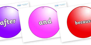 Connectives on Spheres - Connectives, VCOP, connective resources, connectives display words, connective displays