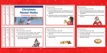 Year 4 Christmas Mental Maths Challenge Cards - Year 4, year 4 maths, mental maths challenges, mental maths, Christmas mental maths.