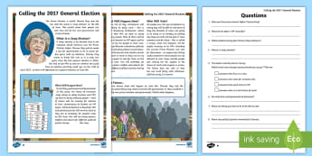 Calling the 2017 General Election Differentiated Reading Comprehension Activity - theresa may, election, general election, reading comprehension, brexit, conservative, labout, libdem