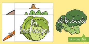 Las verduras Tarjetas de vocabulario