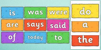 Year 1 Common Exception Words on Multicoloured Bricks - common exception, words