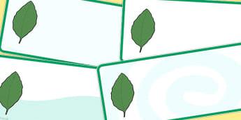 Editable Beech Leaf Drawer Peg Name Labels - trees, signs, labels
