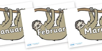 Months of the Year on Sloths - Months of the Year, Months poster, Months display, display, poster, frieze, Months, month, January, February, March, April, May, June, July, August, September