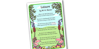 Leisure Poem W H Davis Display Poster - Leisure, poem, W. H. Davies, Davies, poems, 'Leisure', display, poster, sign, thyme, poems, time, care