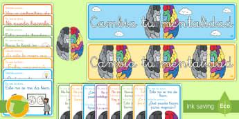 Pack de exposición: La mentalidad de crecimiento - mentailidad, crecimiento, crecedora, exponer, exposición ,pancarta, póster, DIN A4, decorar, decor