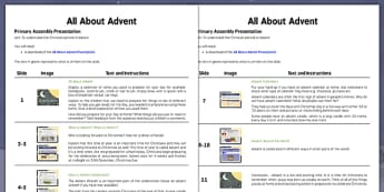 All About Advent Assembly Script - all about advent, assembly, script