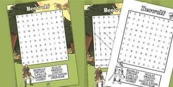 Beowulf Wordsearch - beowulf, wordsearch, word search, words