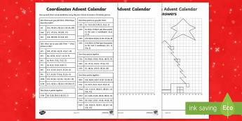 LKS2 Advent Calendar Coordinates Activity Sheet - LKS2, co-ordinates, maths, Christmas, Advent,