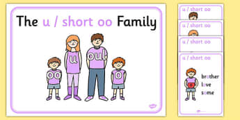 u and Short oo Sound Family Member Posters - short oo sound, oo sound, oo posters, short oo posters, poster, family posters, oo family posters