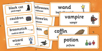 Halloween Word Cards Romanian Translation - romanian, halloween, hallowe'en, word cards, word, cards