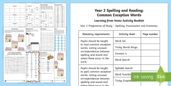 Year 2 Spelling and Reading: Common Exception Words Activity Booklet - Year 2, spellings, SPaG, common exception words, reading, spelling, CEW, CEWs, Y2, GPS, English, hom