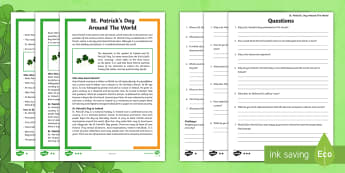 St. Patrick's Day Around The World Differentiated Reading Comprehension Activity - KS1& 2 St Patrick's Day UK March 17th 2017, comprehension, reading, English, saint, st, year 3, thr