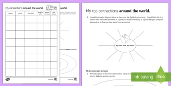 My Top Connections Around the World Activity Sheets - Geography, world, travel, distance, locate, map, read, measure, ks3, secondary, worksheets, sen, sal