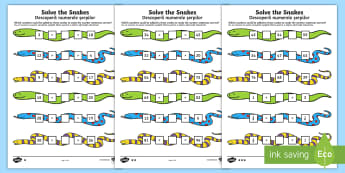 Solve the Snakes Maths Activity Sheet Pack English/Romanian - Year 2 Maths Mastery, Place Value, digit, number, value, tens, units, ones, problem, reason, solve,
