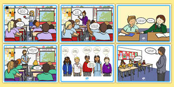 School Conversation Display Posters Gaeilge - talking, speaking and listening, school, teach, learning