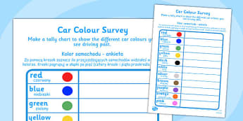 Car Colour Survey Polish Translation - colours, cars, vehicles, roads, count, survey, data, handling