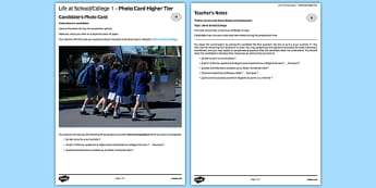 La vie au collège 1  Carte photo Higher Tier - french, france, francais, gcse, practice, Photo, Picture, Card, Foundation, Education, School, College