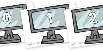 Numbers 0-100 on Monitors - 0-100, foundation stage numeracy, Number recognition, Number flashcards, counting, number frieze, Display numbers, number posters