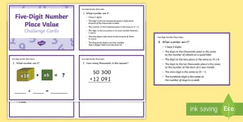 Five-Digit Place Value Challenge Cards - Australian Curriculum Number and Algebra, ACMNA073, place value, partition, partitioning, five digit