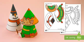 Simple 3D Cone Elf Bobble Head Christmas Activity Paper Craft