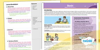 PlanIt - History UKS2 - Benin Planning Overview - planit, benin