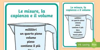 Le misure la capacità e il volume Poster - misure, misurare, capacità, volume, lòiquidi, litri, millilitri, poster, colori, materiale, scolas